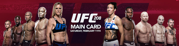 ONLINE UFC BETTING ODDS – UFC 208 – MAIN CARD – Saturday, February 11th