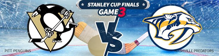 Game 3 Stanley Cup Odds and Trends – Pittsburgh Penguins vs. Nashville Predators – Saturday, June 3rd