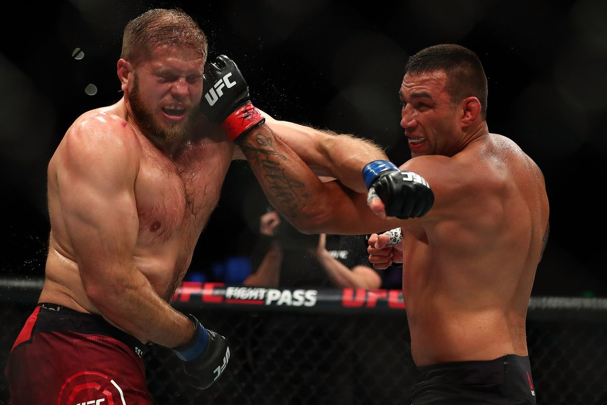 Fabricio Werdum punching Marcus Tybura in the face - UFC Fight Night 127 Betting Favorite
