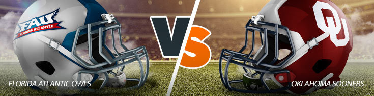 An Image previewing the Florida Atlantic Owls vs. Oklahoma Sooners College Football Betting Matchup