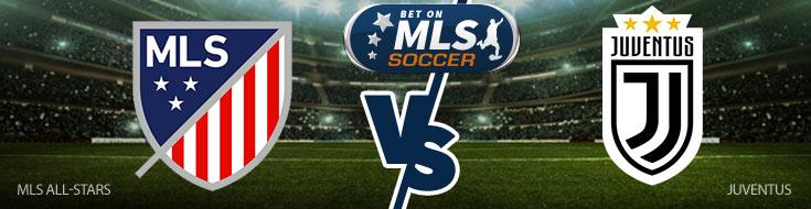 MLS All-Stars vs. Juventus Logos - MLS Soccer Betting Preview