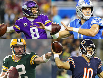 An image of the 4 NFC North quarterbacks; Aaron Rodgers, Matt Stafford, Mitch Trubisky, and Kirk Cousins - 2018 NFC North Predictions