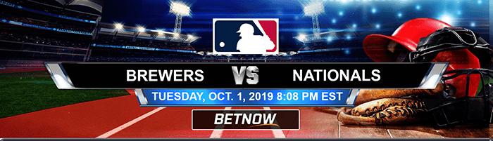 Milwaukee Brewers vs Washington Nationals 10-01-2019 Bet on Baseball Picks