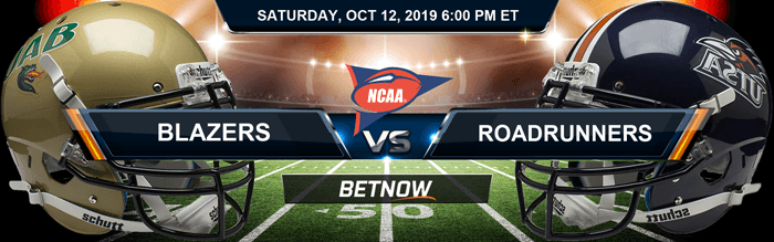 Alabama-Birmingham Blazers vs Texas-San Antonio Roadrunners 10-12-2019 NCAAF Betting Spread