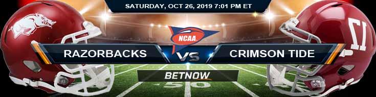 Arkansas Razorbacks vs Alabama Crimson Tide 10-26-2019 Odds Preview and Picks