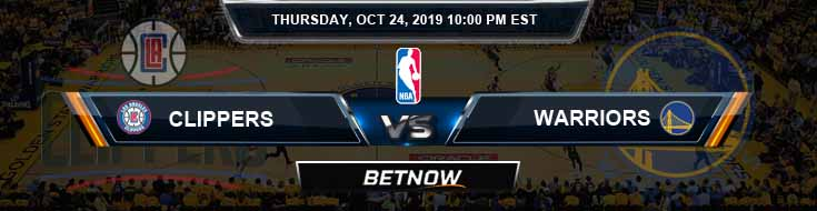 Los Angeles Clippers vs Golden State Warriors 10-24-2019 NBA Odds and Prediction