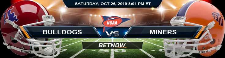 Louisiana Tech Bulldogs vs UTEP Miners 10-26-2019 Picks Odds and Previews