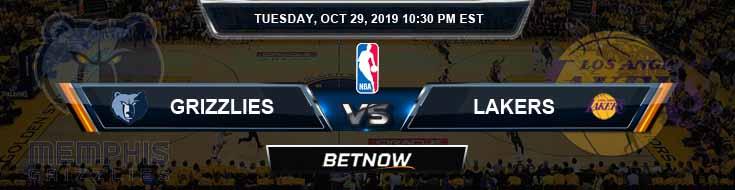 Memphis Grizzlies vs Los Angeles Lakers 10-29-2019 NBA Picks and Previews