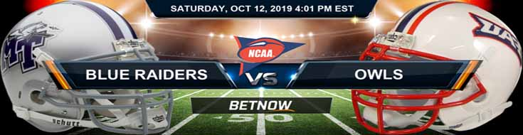 Middle Tennessee Blue Raiders vs Florida Atlantic Owls 10-12-2019 Odds, Picks and Preview