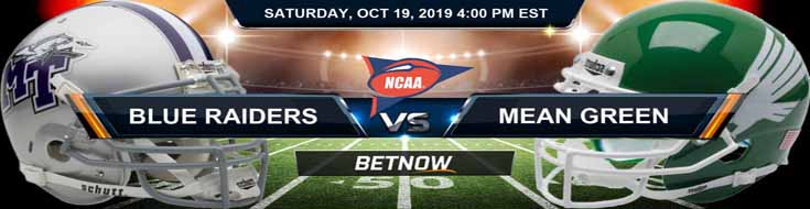 Middle Tennessee Blue Raiders vs North Texas Mean Green 10-19-19 Odds, Picks and Preview