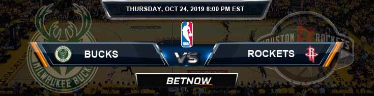 Milwaukee Bucks vs Houston Rockets 10-24-2019 Picks Previews and Prediction