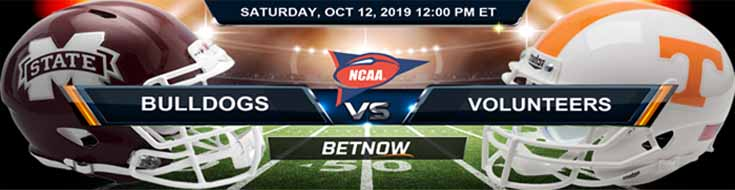 Mississippi State Bulldogs vs Tennessee Volunteers 10-12-2019 NCAAF Betting Spread