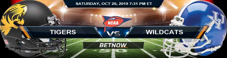 Missouri Tigers vs Kentucky Wildcats 10-26-2019 Odds Picks and Previews