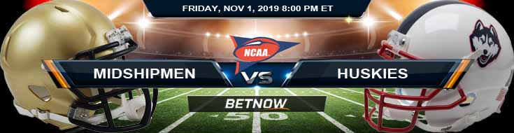 Navy Midshipmen vs UCONN Huskies 11-01-2019 Spread Predictions and Odds