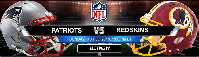 New England Patriots vs Washington Redskins 10-06-2019 Odds, Picks and Game Analysis