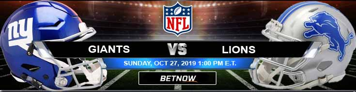 New York Giants vs Detroit Lions 10-27-2019 Picks Predictions and Spread