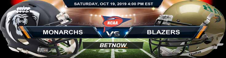 Old Dominion Monarchs vs Alabama-Birmingham Blazers 10-19-19 NCAAF Odds and Picks