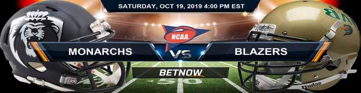 Old Dominion Monarchs vs Alabama-Birmingham Blazers 10-19-19 NCAAF Odds and Picks
