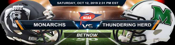 Old Dominion Monarchs vs Marshall Thundering Herd 10-12-2019 NCAAF Betting Spread