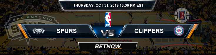 San Antonio Spurs vs Los Angeles Clippers 10-31-2019 NBA Odds and Picks