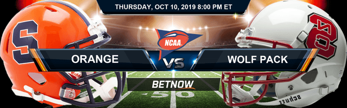 Syracuse Orange vs North Carolina State Wolfpack 10-10-2019 Betting Spread and Picks
