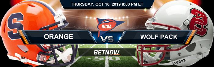 Syracuse Orange vs North Carolina State Wolfpack 10-10-2019 Betting Spread and Picks