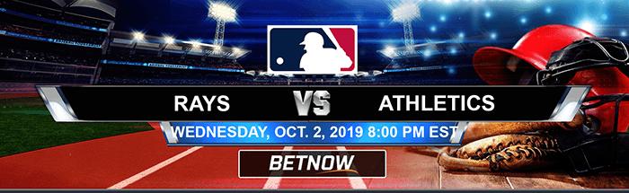 Tampa Bay Rays vs Oakland Athletics 10-02-2019 MLB Betting