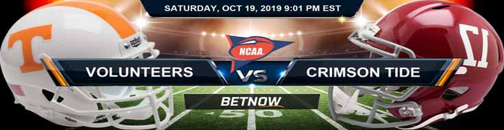 Tennessee Volunteers vs Alabama Crimson Tide 10-19-19 Odds, Picks and Preview