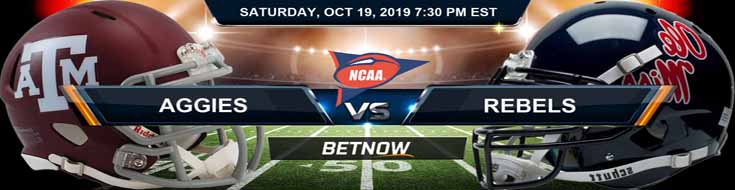 Texas A&M Aggies vs Mississippi Rebels 10-19-19 NCAAF Expert odds and Picks