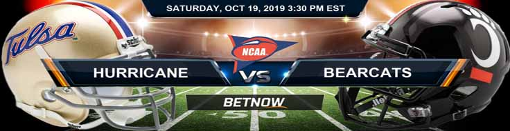 Tulsa Golden Hurricane vs Cincinnati Bearcats 10-19-19 NCAAF Expert Picks and Odds