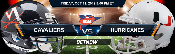 Virginia Cavaliers vs Miami-FL Hurricanes 10-11-2019 Odds, Picks and Preview