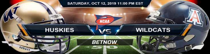 Washington Huskies vs Arizona Wildcats 10-12-2019 Odds, Picks and Preview