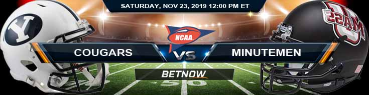 BYU Cougars vs Massachusetts Minutemen 11-23-2019 NCAAF Football Picks and Previews