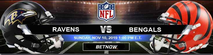 Baltimore Ravens vs Cincinnati Bengals 11-10-2019 Picks Odds and Previews