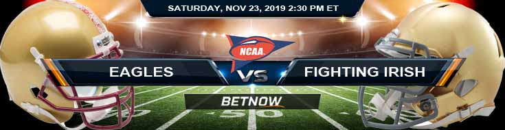 Boston College Eagles vs Notre Dame Fighting Irish 11-23-2019 Odds Predictions and Game Analysis