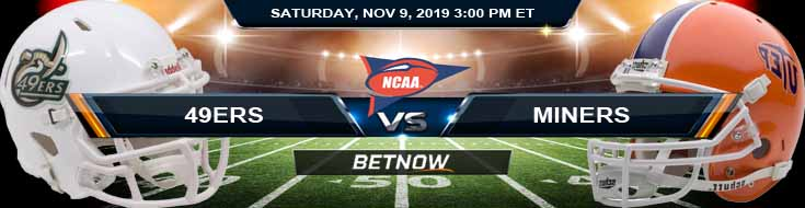 Charlotte 49ers vs UTEP Miners 11-09-2019 Odds Picks and Previews