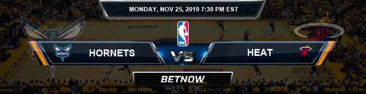 Charlotte Hornets vs Miami Heat 11-25-2019 NBA Spread and Previews
