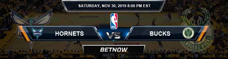 Charlotte Hornets vs Milwaukee Bucks 11-30-2019 Odds Spread and Prediction