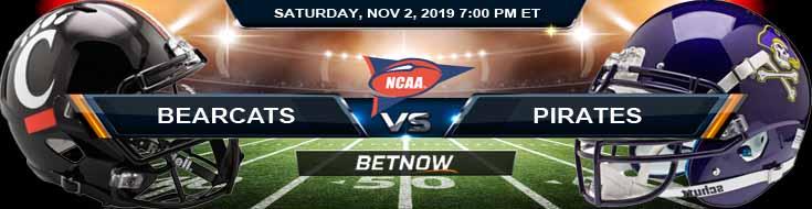 Cincinnati Bearcats vs East Carolina Pirates 11-02-2019 Odds Picks and Predictions