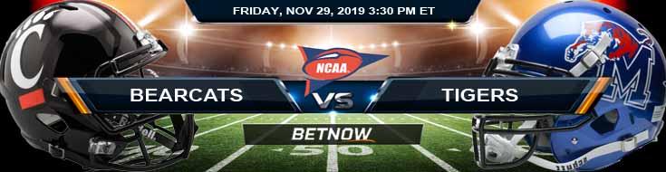 Cincinnati Bearcats vs Memphis Tigers 11-29-2019 Odds Preview and Predictions