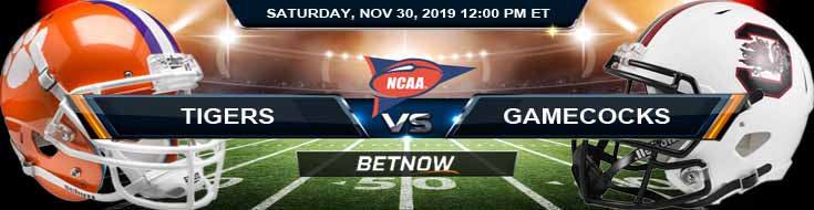 Clemson Tigers vs South Carolina Gamecocks 11-30-2019 Sports Betting Odds and Picks