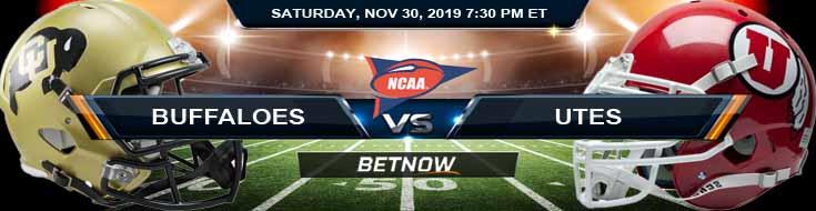 Colorado Buffaloes vs Utah Utes 11-30-2019 Odds Predictions and Preview
