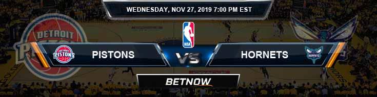 Detroit Pistons vs Charlotte Hornets 11-27-2019 Spread Picks and Previews