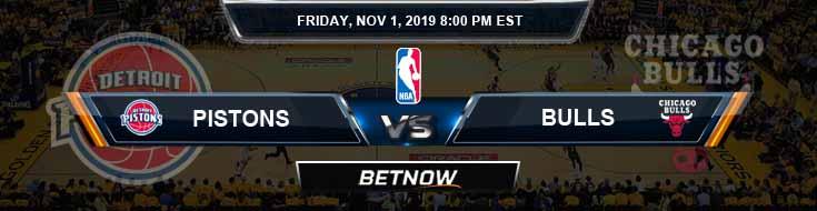 Detroit Pistons vs Chicago Bulls 11-01-2019 Odds Spread and Prediction