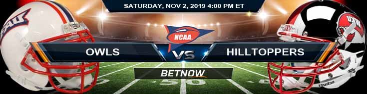 Florida Atlantic Owls vs Western Kentucky Hilltoppers 11-02-2019 Game Analysis Picks and Odds