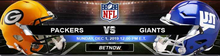 Green Bay Packers vs New York Giants 12-01-2019 Previews Odds and Spread