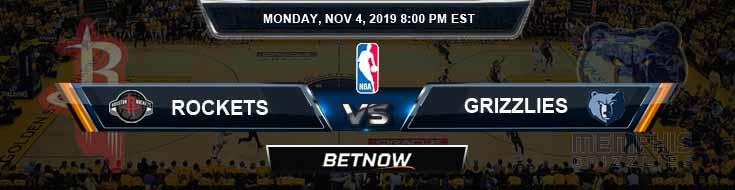 Houston Rockets vs Memphis Grizzlies 11-04-2019 Odds Picks and Previews