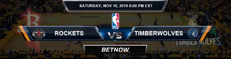 Houston Rockets vs Minnesota Timberwolves 11-16-2019 NBA Odds and Picks