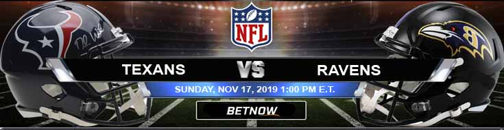 Houston Texans vs Baltimore Ravens 11-17-2019 Spread Odds and Predictions