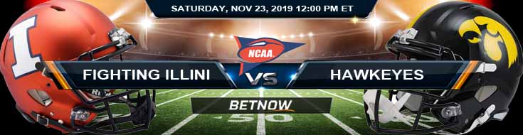 Illinois Fighting Illini vs Iowa Hawkeyes 11-23-2019 Picks Previews and Odds
